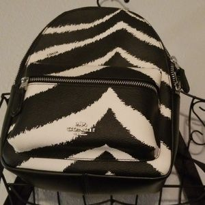 Coack Zebra Print Leather Mini Backpack